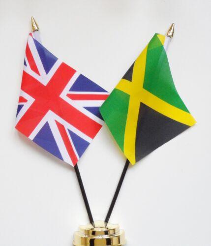 United Kingdom & Jamaica Double Friendship Table Flag Set