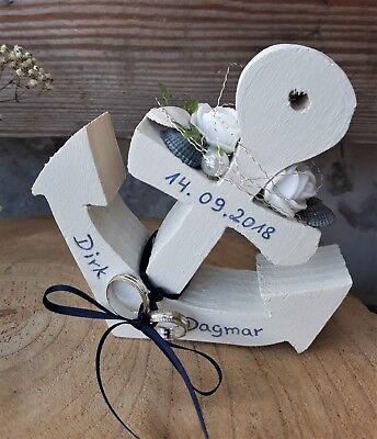Ringkissen Ringhalter Holz Anker weiß maritim mit Namen zur Hochzeit
