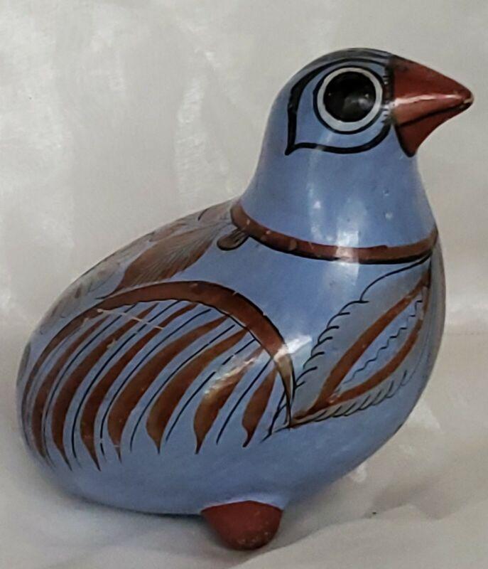 "Vintage TONALA MEXICO Art Pottery Bird Figurine Folk Art 4.5"" Quail Handpainted"