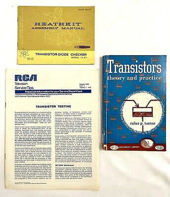 3 Vintage 1950s-70s Heathkit RCA Gernsback Library Transistors Books & Manuals