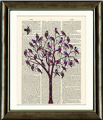 Old Book page Art Print - Pink Bird Tree Illustration Dictionary Page Print