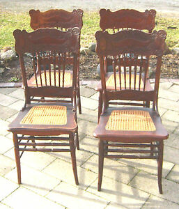 matching antique oak double pressback chairs w great caned seats
