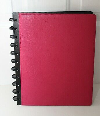 New Levenger Circa Leather Rasberry Foldover Notebook Letter New With Tag Box
