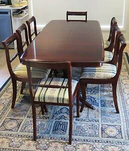 *** DUAL PEDESTAL EXTENSION DINING TABLE WITH EIGHT (8) CHAIRS ** Albion Park Rail Shellharbour Area Preview