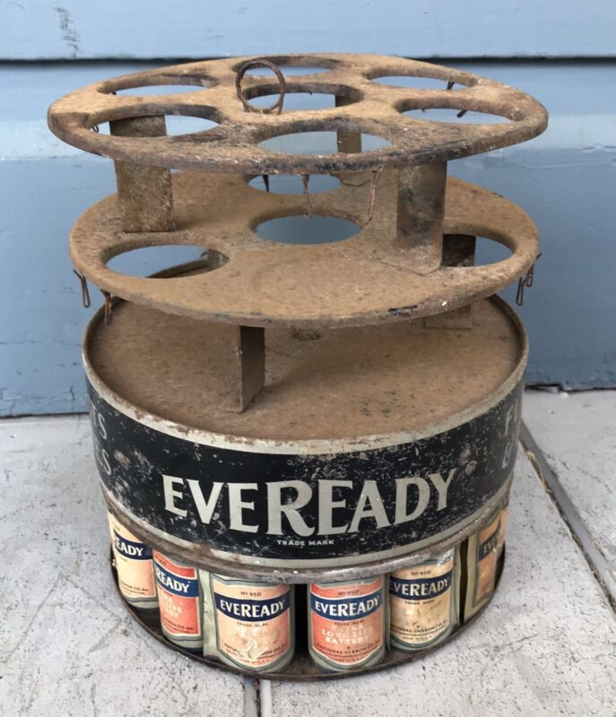 Antique Vintage Tin Rotating Eveready Battery Store Counter Display