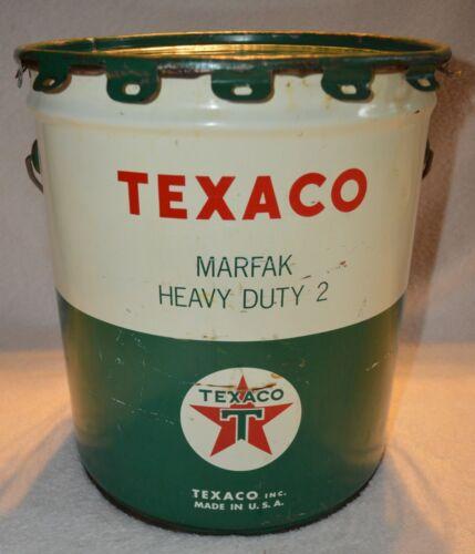 VINTAGE TEXACO MARFAK HEAVY DUTY 2 LUBRICANT 35 LB TIN CAN BUCKET LARGE RARE