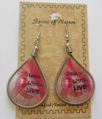 Spirit of Nature Earrings Thread- Love Laugh Live-Pink Ribbon- french wire