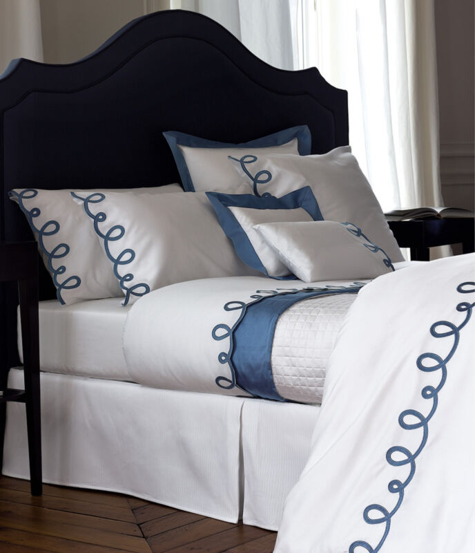 yves delorme italics white queen duvet set blue embroidery egyptian cotton new