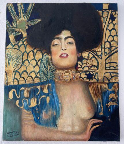 Gustav Klimt painting signed & stamped Vintage