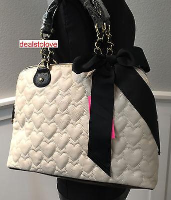 NWT Betsey Johnson Handbag Mine Yours Cream White Hearts Bow
