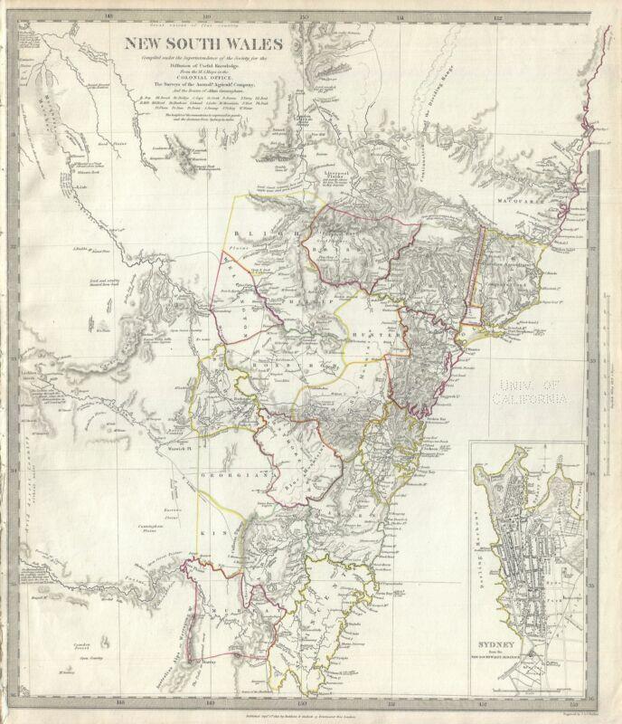 1833 S.D.U.K. Map of New South Wales, Australia