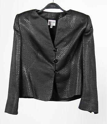 Armani Collezioni Womens Cropped Jacket Black Snake Print Collarless Italy 14