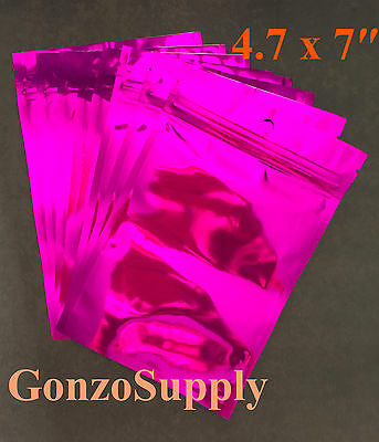 200 Fuchsia Pink Mylar Zip Lock 4.7x7 Bags-scacks Coffee Storage Organize
