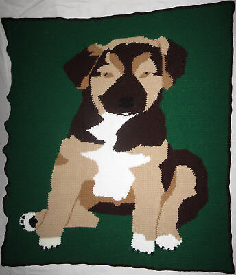 HANDMADE Pet PUPPY DOG Quilt COUCH Lap KID Bed BLANKET Crochet AFGHAN Knit THROW