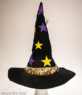 Witch Hat Blk Puff Paint Star Print Halloween Hat With LED Lights & Gold Band OS](Black Light Paint Halloween)
