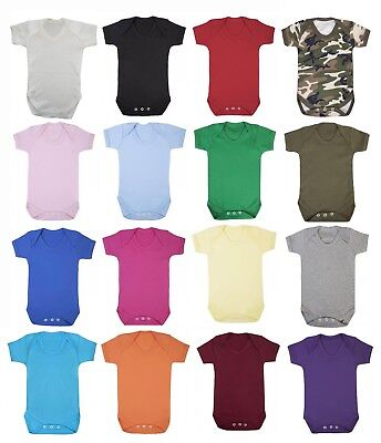 Plain 100% Cotton BABY GROW BOY/GIRL Babygrow short sleeve Bodysuit Vest Newborn