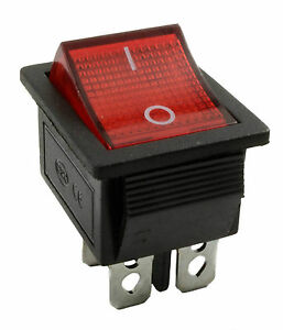 Rocker Switch 16A Peak 10A operating 240V Red ON-OFF Double Pole 4 Pin F327685K