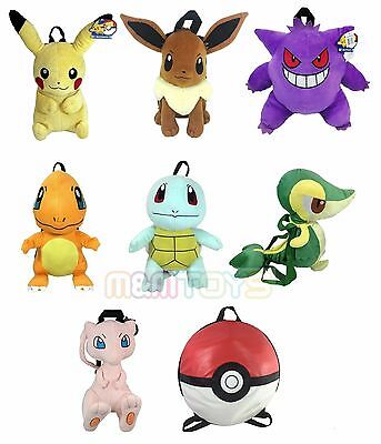 Pokemon Pikachu, Charmander, Eevee, Squirtle, Snivy, Gengar Plush Backpack 1pc