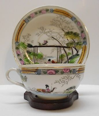 Teacup and Saucer Japanese Woman on Boat Man on Horse Crossing Bridge Vintage