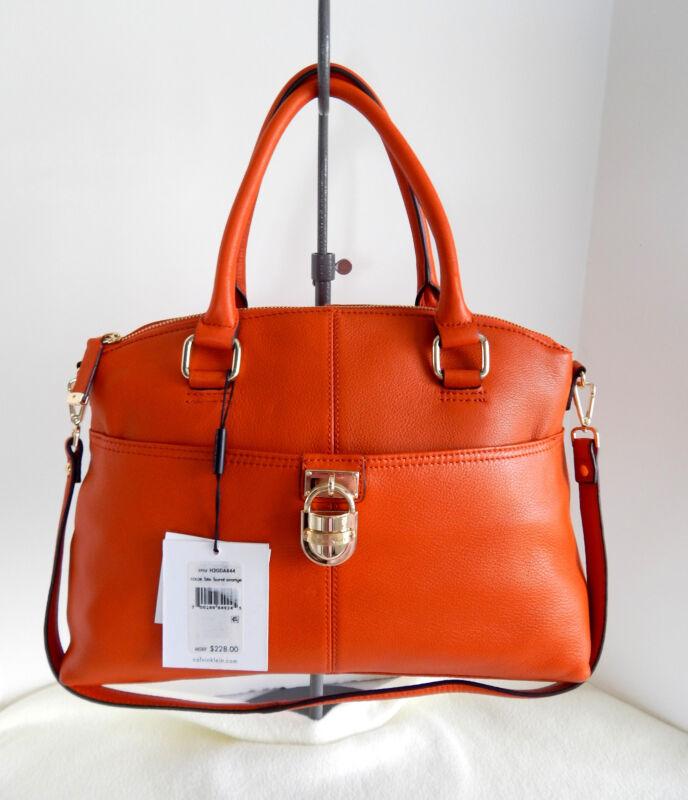 CALVIN KLEIN Leather Burnt Orange Convertible Handbag + Dust Bag NWT $228
