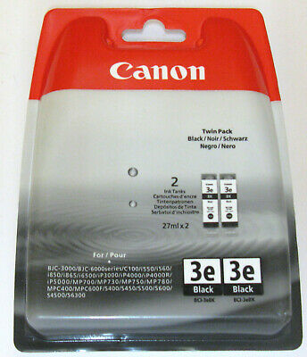 Canon BCI-3eBk Genuine Black Cartridge. Twin (2) Pack. BNIB / Sealed.