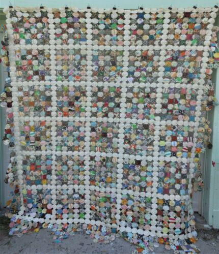 Large Vintage Yoyo Pattern Pieced Patchwork Quilt