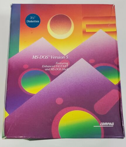 """MS-DOS Version 5 Software Floppy 3.5"""" Diskettes SEALED Retail Box Compaq"""