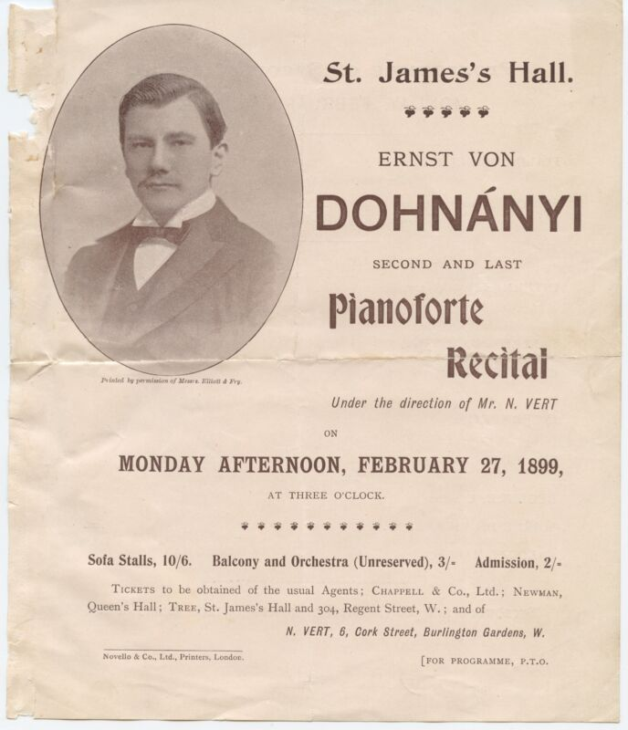 Ernö DOHNÁNYI (Composer/Pianist): Two Concert Programs
