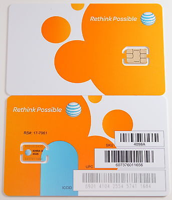 NEW Factory Nano SIM Card Iphone 6 / 6 +/ Galaxy s6 / S7, Note 5 AT&T 4G LTE