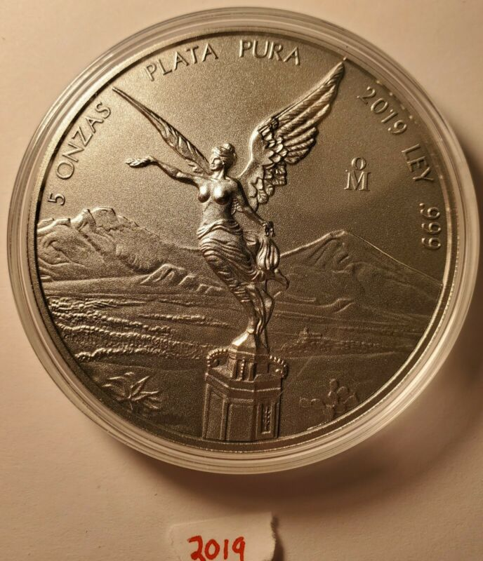 2019 Mexico Libertad 5 Oz. Antiqued Coin In Capsule .999, only 2000 minted.