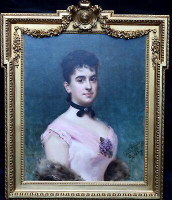 RAIMUNDO DE MADRAZO Y GARRETA  PORTRAIT NINA FAGNANI OIL PAINTING ART 1841-1920