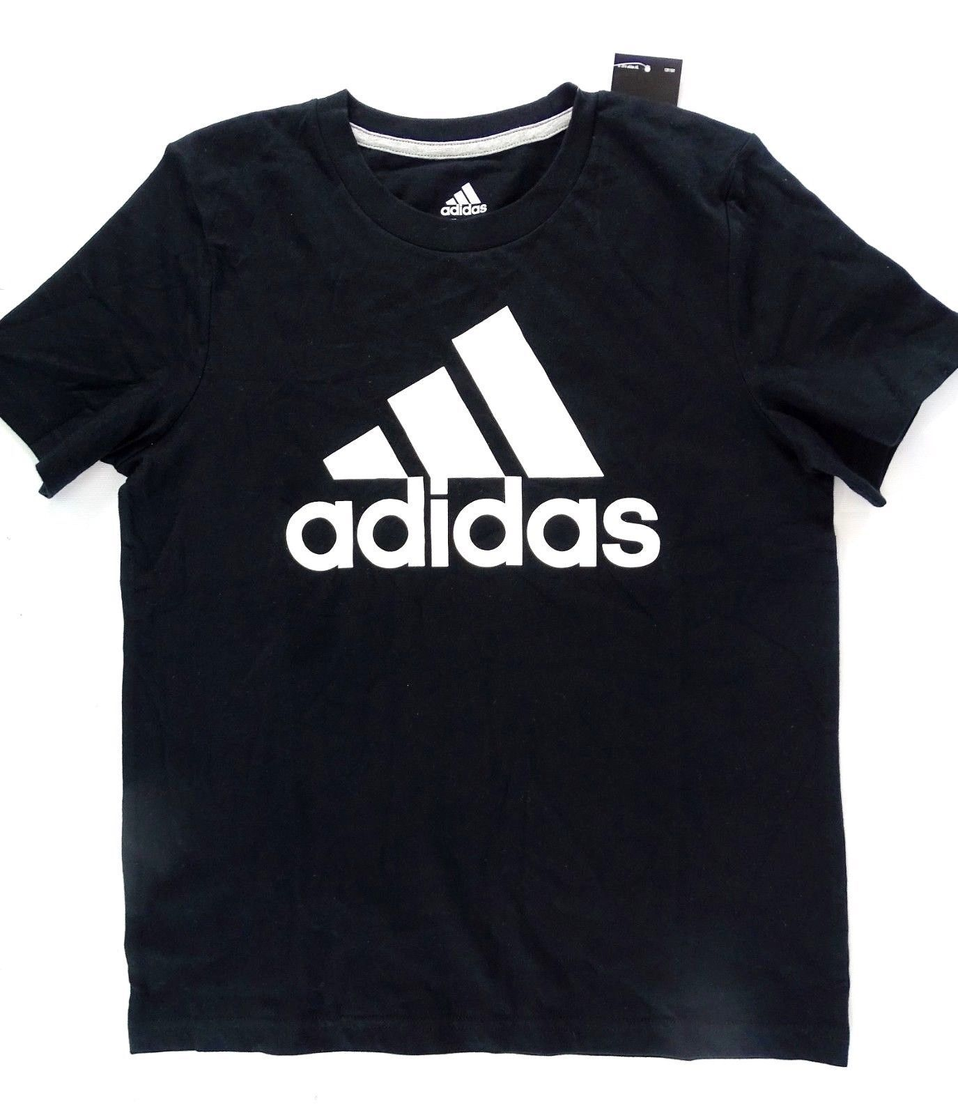 NEW Adidas Girls' Cotton Logo Tee, Black Size S