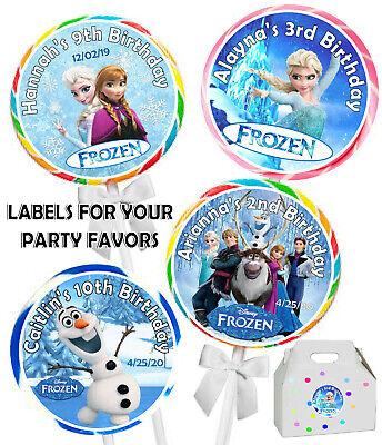 Frozen Birthday Bags (FROZEN ELSA BIRTHDAY PARTY FAVORS STICKERS LABELS for lollipops ~ goody)