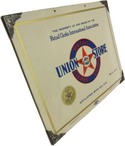 Vintage Metal RETAIL CLERKS UNION - UNION STORE Sign AFL-CIO No. B-40720