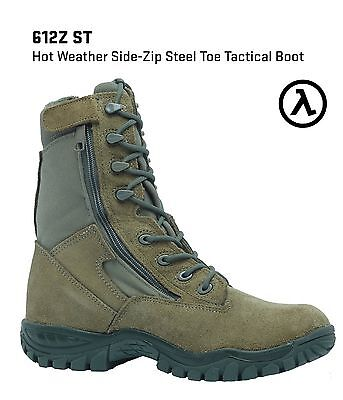 BELLEVILLE 612ZST HOT WEATHER SIDE-ZIP TACTICAL STEEL TOE BOOTS * SALE Side Zip Steel Toe Boots