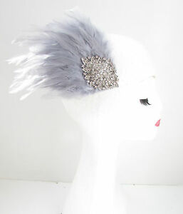 Grey & Silver Feather Fascinator Headpiece Races Diamante Hair Clip Vintage Y44