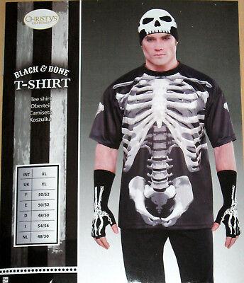 Halloween T-Shirt Gr. XL Knochen Skelett Karneval Fasching Herren Amscan