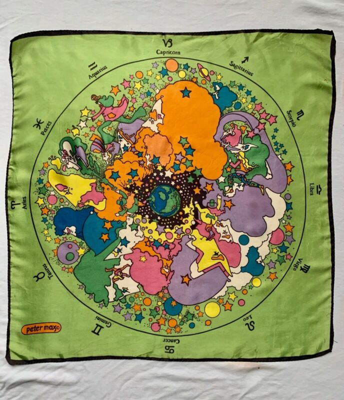 Vintage Peter Max Zodiac Astrology Scarf Rare Green 1960s 1970s