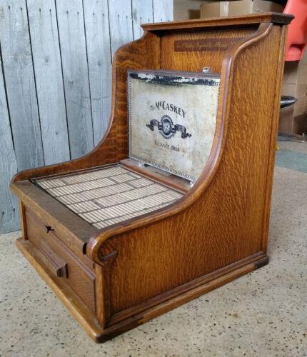 Antique Carved Oak McCaskey Register Co. Credit Cash Register Filing Cabinet