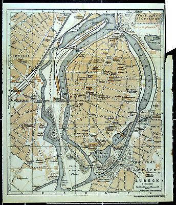 LÜBECK, alter farbiger Stadtplan, datiert 1914