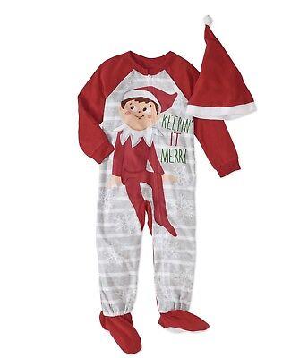 Elf On The Shelf Toddler Boys / Girls Blanket Sleeper Footie Kids Pajamas 3T