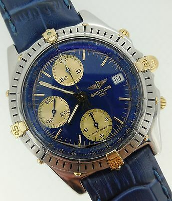 Breitling Chronomat Automatic Chronograph Blue Dial 18kt Gold & Steel B13047
