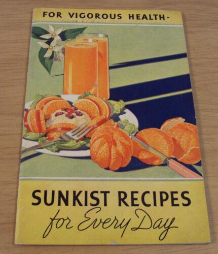 "1937 California ""SUNKIST RECIPES"" Fruit Ideas"