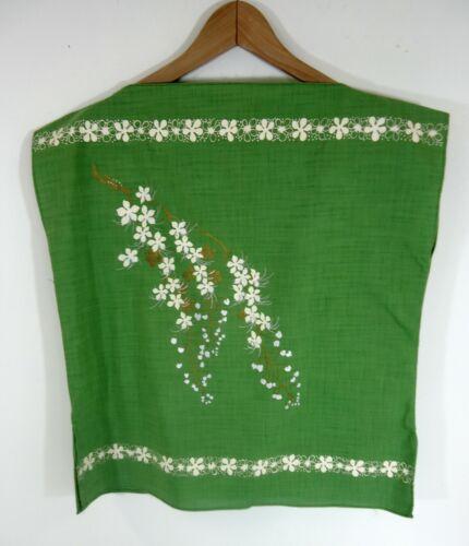 VTG Hawaiian Tiki Tunic Shirt Womans Green Top Printed Floral Design NOS 1960