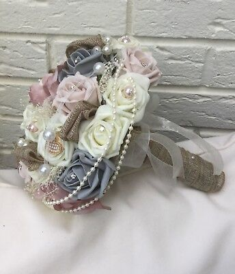 Brides Bouquet Wedding Flowers Blush Pink Dusky Ivory Grey Roses Hessian Burlap