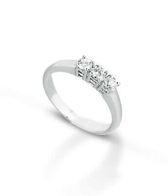 Anello Trilogy in oro 18 kt e Diamanti Naturali ct 0,30 Anniversario