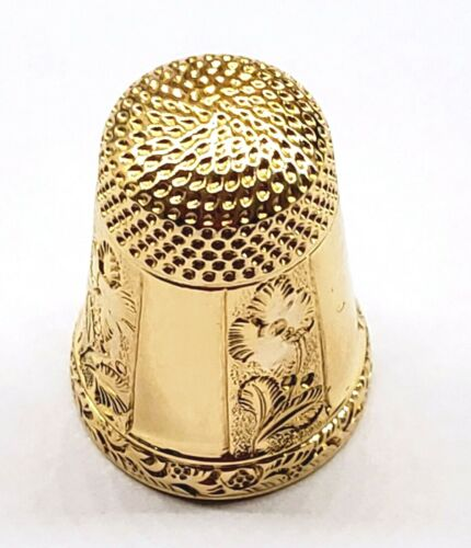 *ANTIQUE* VINTAGE *18K YELLOW GOLD * THIMBLE * SIZE 8 * HAND ENGRAVED *