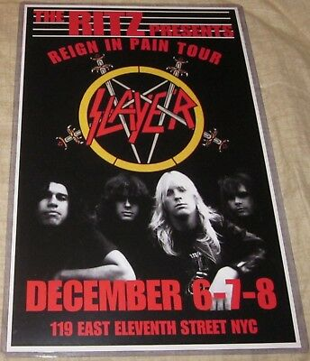 SLAYER 1986 REIGN IN PAIN TOUR REPLICA CONCERT POSTER W/PROTECTIVE SLEEVE