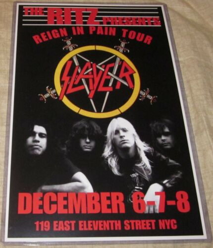 SLAYER 1986 THE RITZ REIGN IN PAIN TOUR REPLICA CONCERT POSTER
