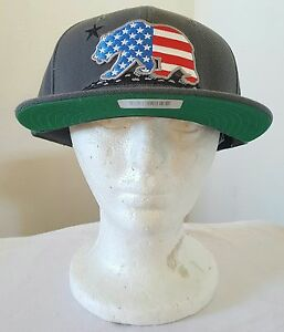 California Republic Grey US Flag Bear USA Flat Bill Snapback Snap Back Cap Hat
